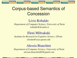 Corpus-based Semantics of Concession