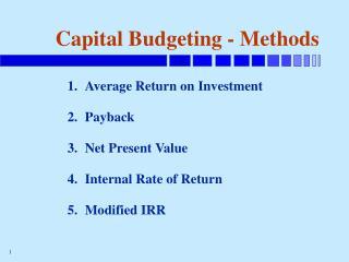 Capital Budgeting - Methods