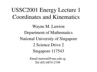 USSC2001 Energy Lecture 1 Coordinates and Kinematics