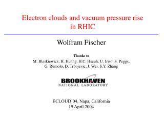 Electron clouds and vacuum pressure rise  in RHIC