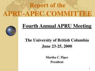 Report of the APRU-APEC COMMITTEE