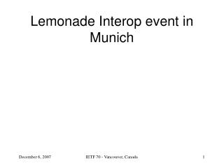 Lemonade Interop event in Munich