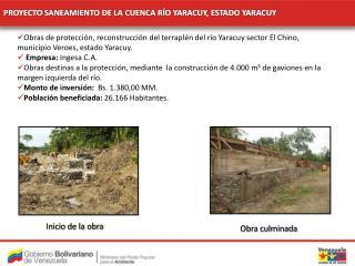 PROYECTO SANEAMIENTO DE LA CUENCA RÍO YARACUY, ESTADO YARACUY