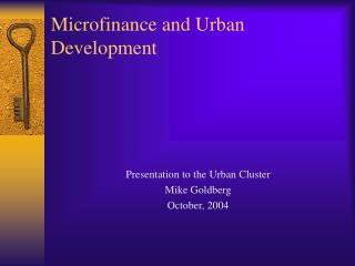 Microfinance and Urban Development