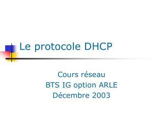 Le protocole DHCP