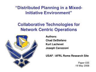 """Distributed Planning in a Mixed-Initiative Environment"""
