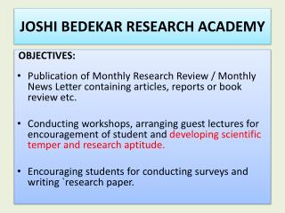 JOSHI BEDEKAR RESEARCH ACADEMY