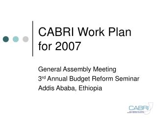 CABRI Work Plan for 2007