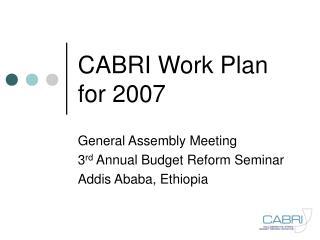 CABRI Work Plan for 2007