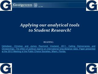 Applying our analytical tools to Student Research!