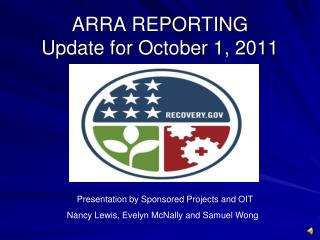 ARRA REPORTING Update for October 1, 2011