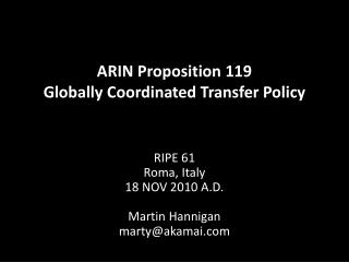 ARIN Proposition 119 Globally Coordinated Transfer Policy
