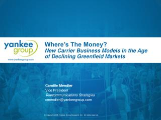 Where's The Money? New Carrier Business Models In the Age of Declining Greenfield Markets