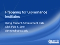Preparing for Governance Institutes
