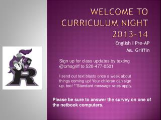 Welcome to Curriculum Night 2013-14