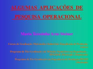 ALGUMAS  APLICAÇÕES  DE   PESQUISA  OPERACIONAL Maria Teresinha Arns Steiner