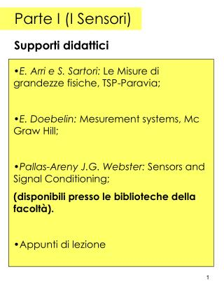 Parte I (I Sensori)