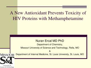 A New Antioxidant Prevents Toxicity of HIV Proteins with Methamphetamine