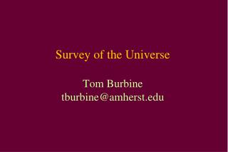 Survey of the Universe Tom Burbine tburbine@amherst