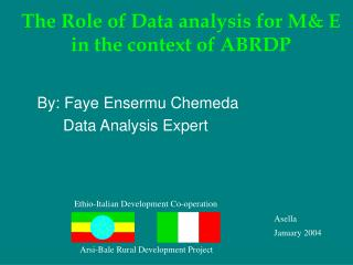 The Role of Data analysis for M& E in the context of ABRDP