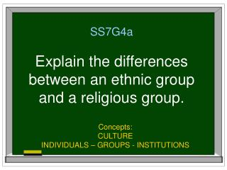 SS7G4a Explain the differences between an ethnic group  and a religious group.