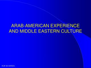 ARAB-AMERICAN EXPERIENCE  AND MIDDLE EASTERN CULTURE