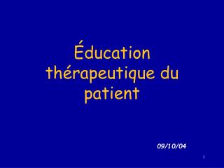ducation th rapeutique du patient