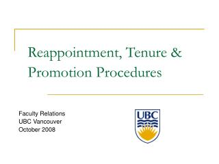 Reappointment, Tenure & Promotion Procedures