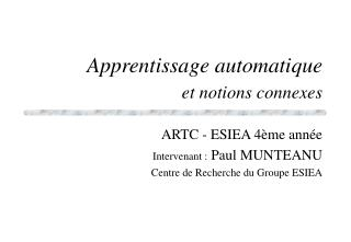 Apprentissage automatique et notions connexes