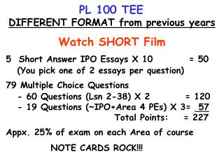 PL 100 TEE DIFFERENT FORMAT from previous years Watch SHORT Film