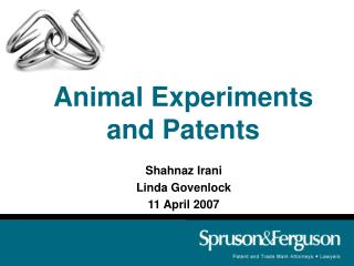 Animal Experiments and Patents