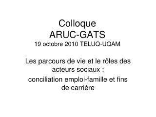 Colloque  ARUC-GATS  19 octobre 2010 TELUQ-UQAM