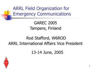 ARRL Field Organization for  Emergency Communications