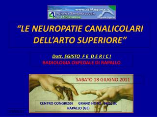 """LE NEUROPATIE CANALICOLARI DELL'ARTO SUPERIORE"""