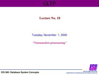 "Tuesday, November  1, 2000 ""Transaction processing"""