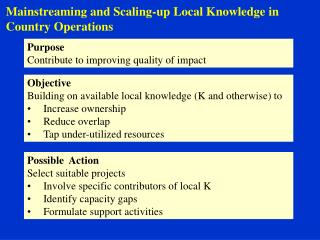 Mainstreaming and Scaling-up Local Knowledge in Country Operations