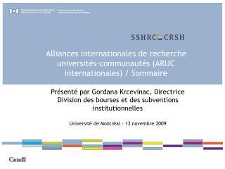 Alliances internationales de recherche universités-communautés (ARUC internationales) / Sommaire