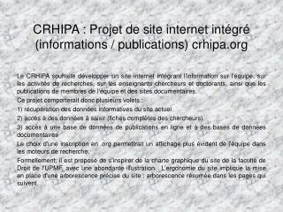 CRHIPA : Projet de site internet intégré (informations / publications) crhipa