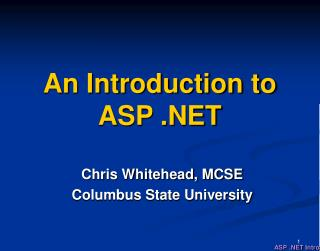An Introduction to ASP .NET
