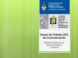 Grupo de  Trabajo ( GT) de  Comunicaci�n OBSERVATORIO DE LA DISCAPACIDAD  CONADIS