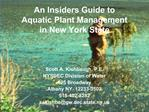 An Insiders Guide to  Aquatic Plant Management  in New York State
