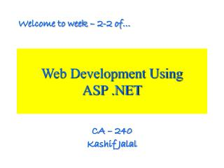 Web Development Using  ASP .NET