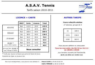 A.S.A.V. Tennis Tarifs saison 2010-2011