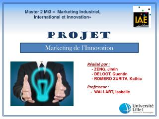 Master 2 Mi3 « Marketing Industriel, Internationalet Innovation»