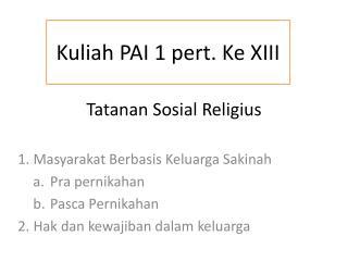 Tatanan  Sosial Religius