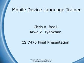 Mobile Device Language Trainer