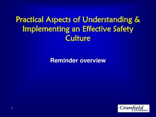 Practical Aspects of Understanding & Implementing an Effective Safety Culture