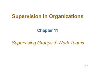 Supervision in Organizations Chapter 11 Supervising Groups & Work Teams