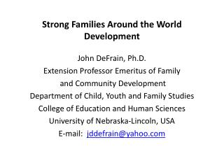 Strong Families Around the World Development