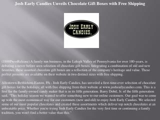 Josh Early Candies Unveils Chocolate Gift Boxes with Free Sh